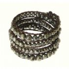 Dark Brown Double Leather Cord & Gun Metal Grey Colour Metal Beads Wrap Around Leather Bracelet
